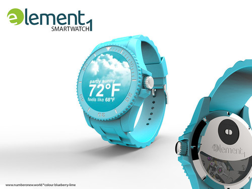 Element1 smartwatch with kinetic battery, colour blueberry-lime, further colours are black currant, Lychee, ...