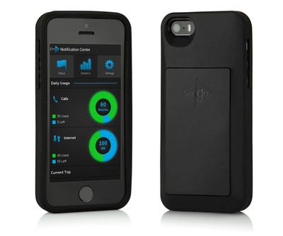 By removing their SIM card and attaching Simgo's lightweight protective cover (shown here on an iPhone 5S), users are no longer exposed to the high costs of using high speed data and making calls while abroad. (PRNewsFoto/Simgo) (PRNewsFoto/SIMGO)