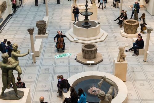 Many visitors stopped to listen to the cellist in the Medieval and Renaissance Galleries of London's Victoria & Albert Museum. (PRNewsFoto/STATE CHANCELLERY OF SAXONY)
