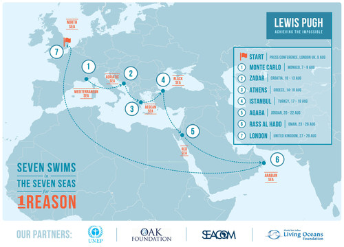 Map shows route of Lewis Pugh's seven swims in seven seas for one reason (PRNewsFoto/Khaled bin Sultan Living Oceans)
