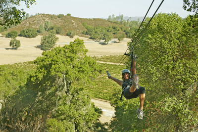 Zipline tour over Ancient Peaks' Margarita Vineyard followed by a wine tasting, San Luis Obispo County.  Chris Leschinsky photo.
