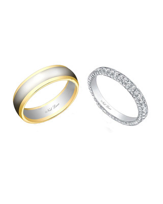 Lacy's diamond and platinum handmade band contains 130 round brilliant diamonds. Approximate total diamond weight is 2 carats. Signed and designed by Neil Lane. Marcus' band is platinum and yellow gold. Signed and designed by Neil Lane.