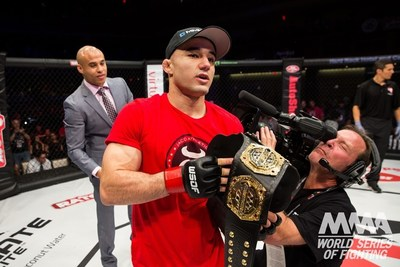 Reigning world bantamweight (135 pounds) MMA champion Marlon Moraes puts his four-fight winning streak on the line against superstar Cody Bollinger in the main event of the live NBC Sports Network (NBCSN) televised World Series of Fighting (WSOF) event on Saturday, Sept. 13. (PRNewsFoto/World Series of Fighting)