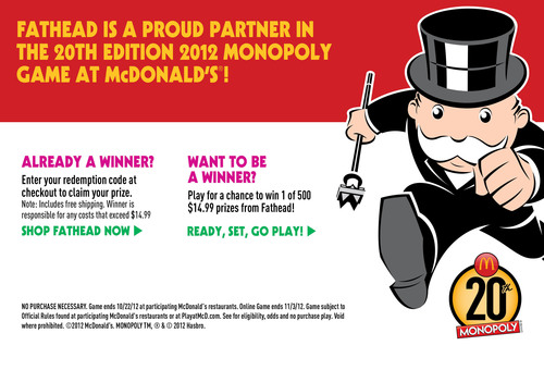 Fathead is a proud partner in the 20th Edition MONOPOLY Game at McDonald's!  (PRNewsFoto/Fathead LLC)