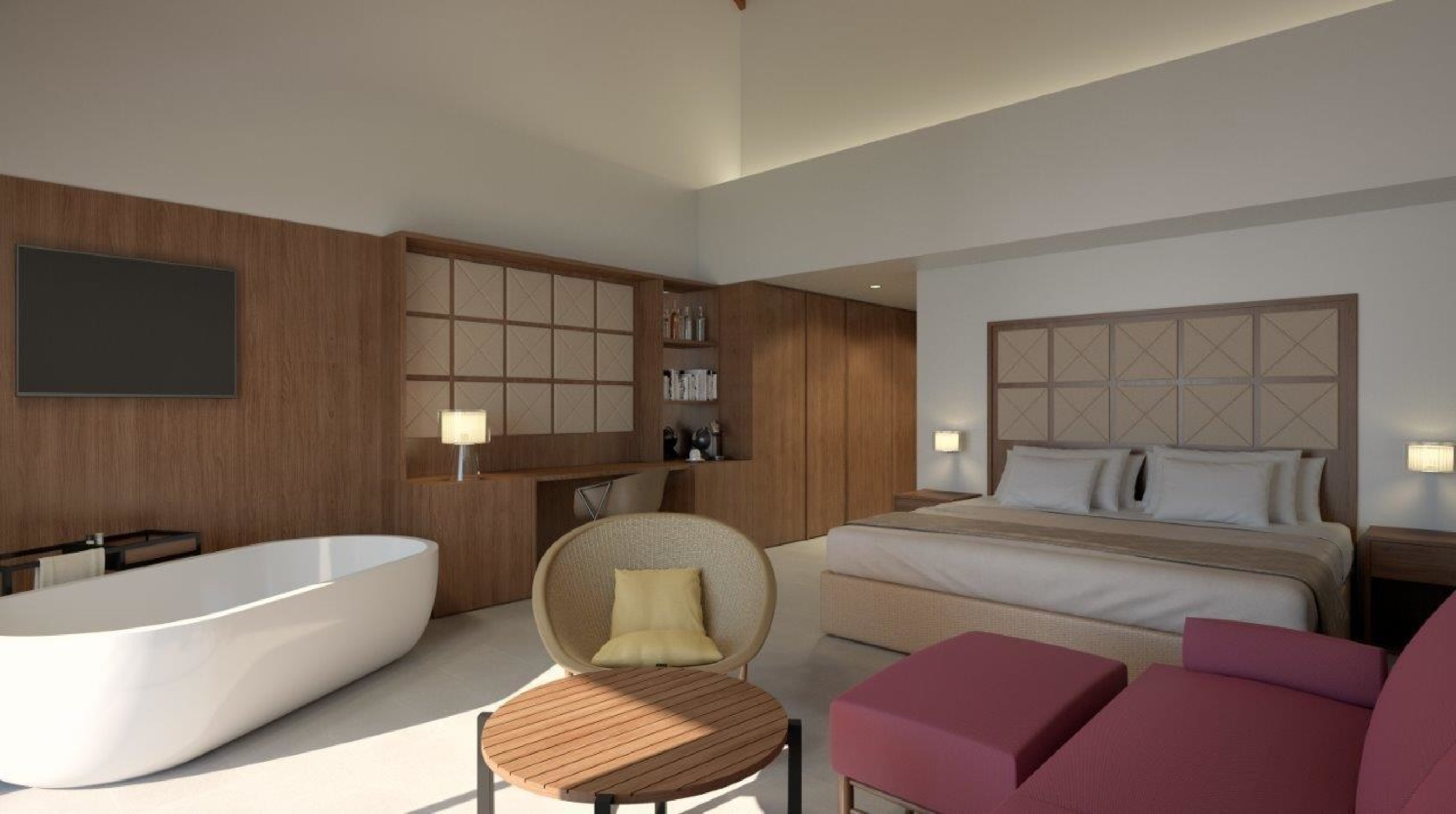 Rendering of new guestroom interior for Excellence Punta Cana all-inclusive resort.