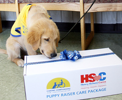 Henry Schein Cares-Canine Companions Puppy Raiser Care Packages began shipping to veterinarians and volunteer puppy raisers who care for puppies in the first 18 months of life. The care packages, filled with essential products, will help defray costs for veterinarians and puppy raisers as they prepare the puppies to become assistance dogs for those in need.