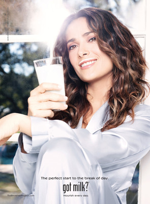 "Award-winning actress Salma Hayek gives fans a unique behind-the-scenes look at her morning routine in her latest ad with the National Milk Mustache ""got milk?(R)"" campaign's The Breakfast Project.  (PRNewsFoto/MilkPEP)"