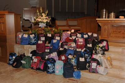 Filled backpacks collected by the First Presbyterian Church of Fort Lauderdale's Children's Ministry (PRNewsFoto/First Presbyterian Church ...)
