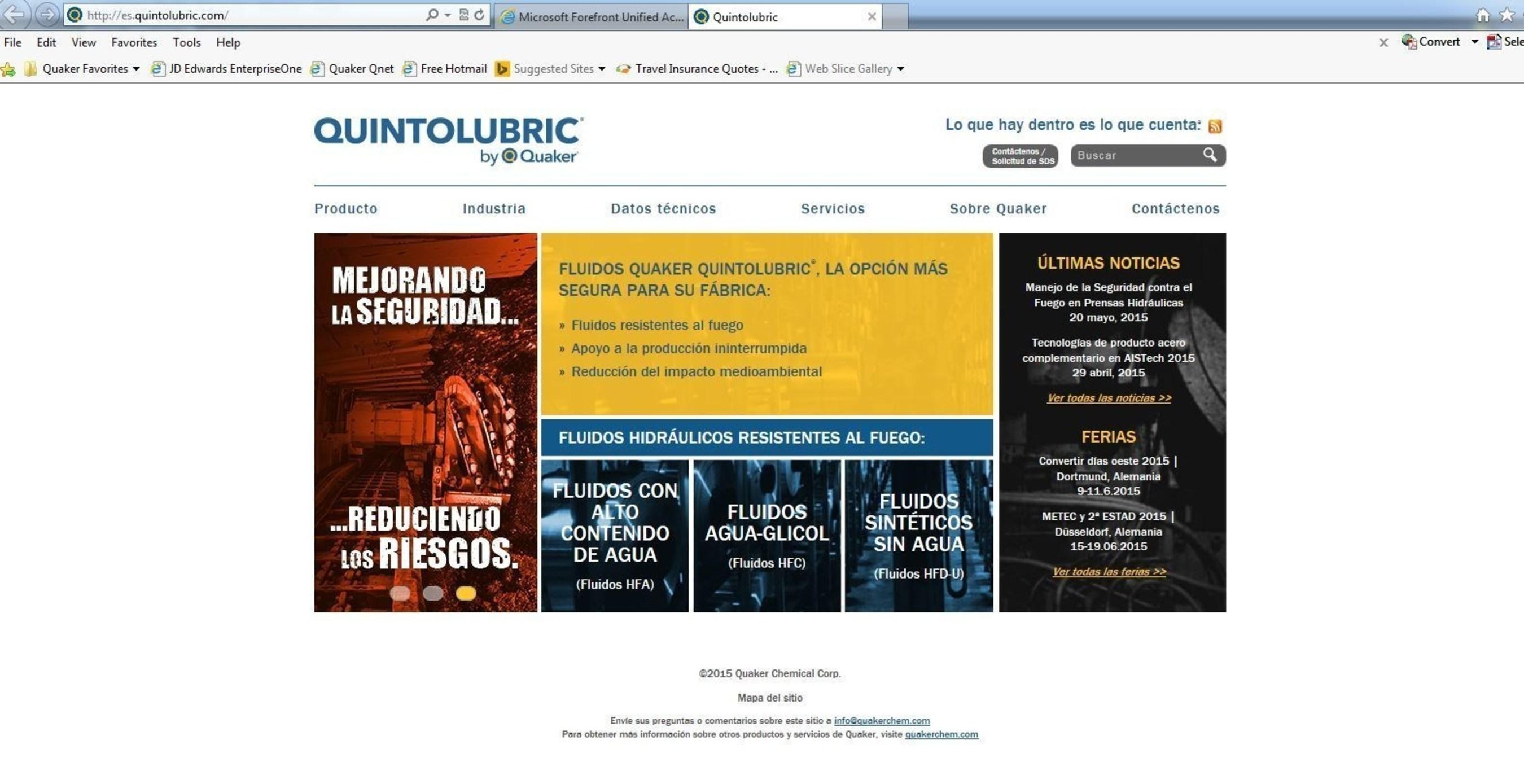Quaker lance un site Internet multilingue pour ses fluides hydrauliques résistants au feu