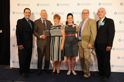 Pictured (From Left): AFSP CEO Robert Gebbia, Senator Harry Reid (D-NV), Rosie Walisever, Stacey Ridenour, Dr. Jerry Reed, AFSP Board Member Rick Kirchoff