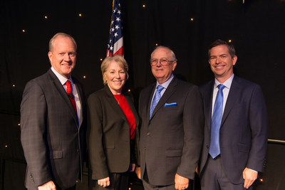 Pictured from left to right: Blue Diamond Growers Chairman of the Board Dan Cummings, Board Member (Retired) Elaine Rominger, Board Member (Retired) Clinton Shick, and President and CEO Mark Jansen