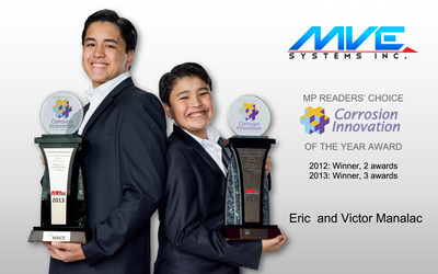 Eric and Victor Manalac of MVE Systems Inc. with their MP Readers' Choice Corrosion Innovation of the Year Awards. Eric Manalac (left ) is the award recipient for Engineering Resource and Data Management (ERDM ) and Universal Learning Application (ULA ) and Victor Manalac (right ), the award recipient for CorrSim Junior