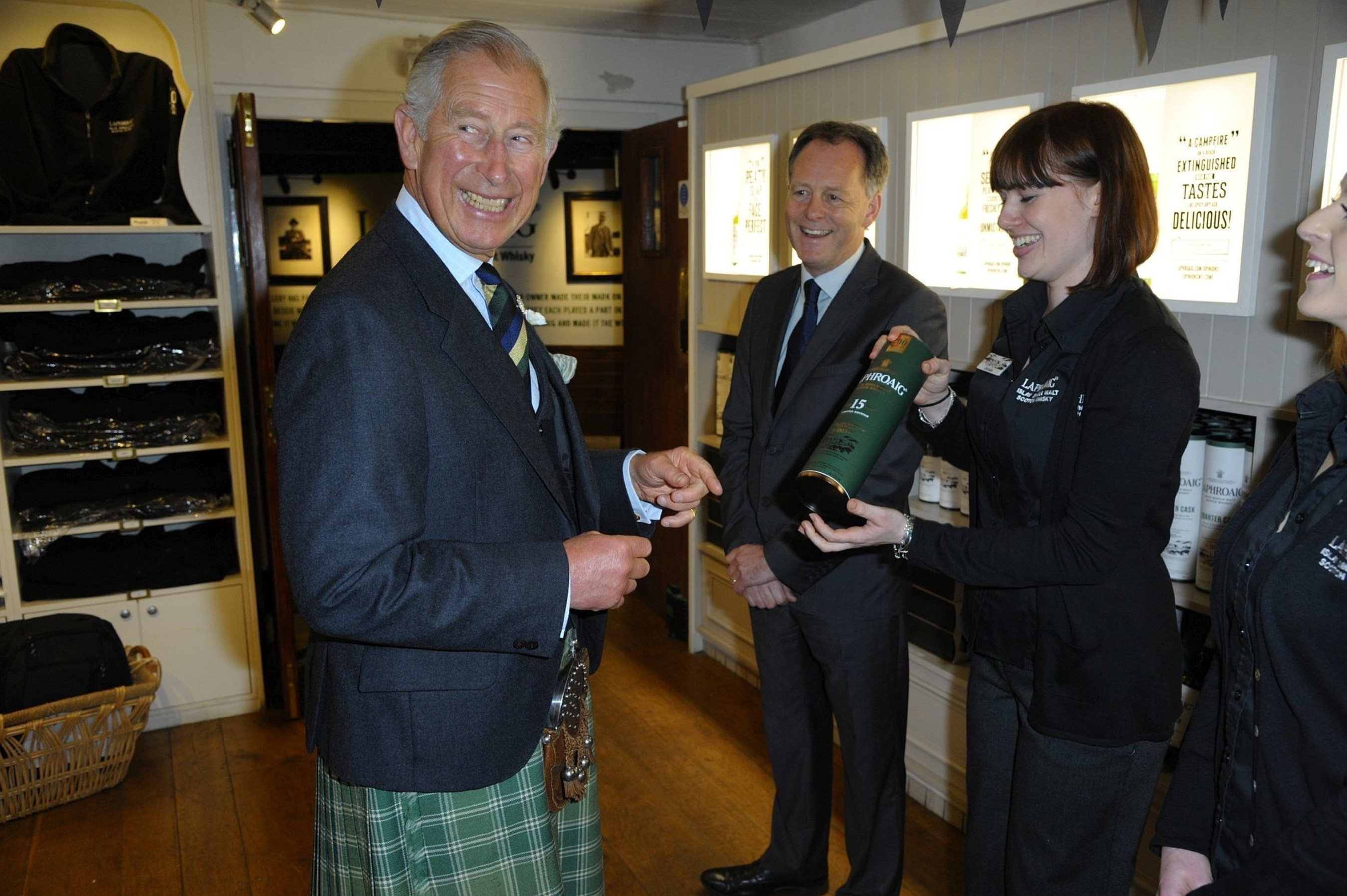 HRH Prince Charles, Duke of Rothesay, visited the Laphroaig distillery on Islay in the Inner Hebrides this morning to celebrate the brand's 200th anniversary. Laphroaig is the only single malt scotch whisky to bear the Royal Warrant, a mark of recognition to those who supply goods or services to the Royal Households. (PRNewsFoto/Laphroaig) (PRNewsFoto/Laphroaig)