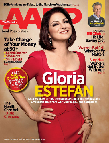 Latin Sensation Gloria Estefan Embraces The Rhythm of Life & Love After 50 in the August/September Issue of AARP The Magazine.  (PRNewsFoto/AARP)