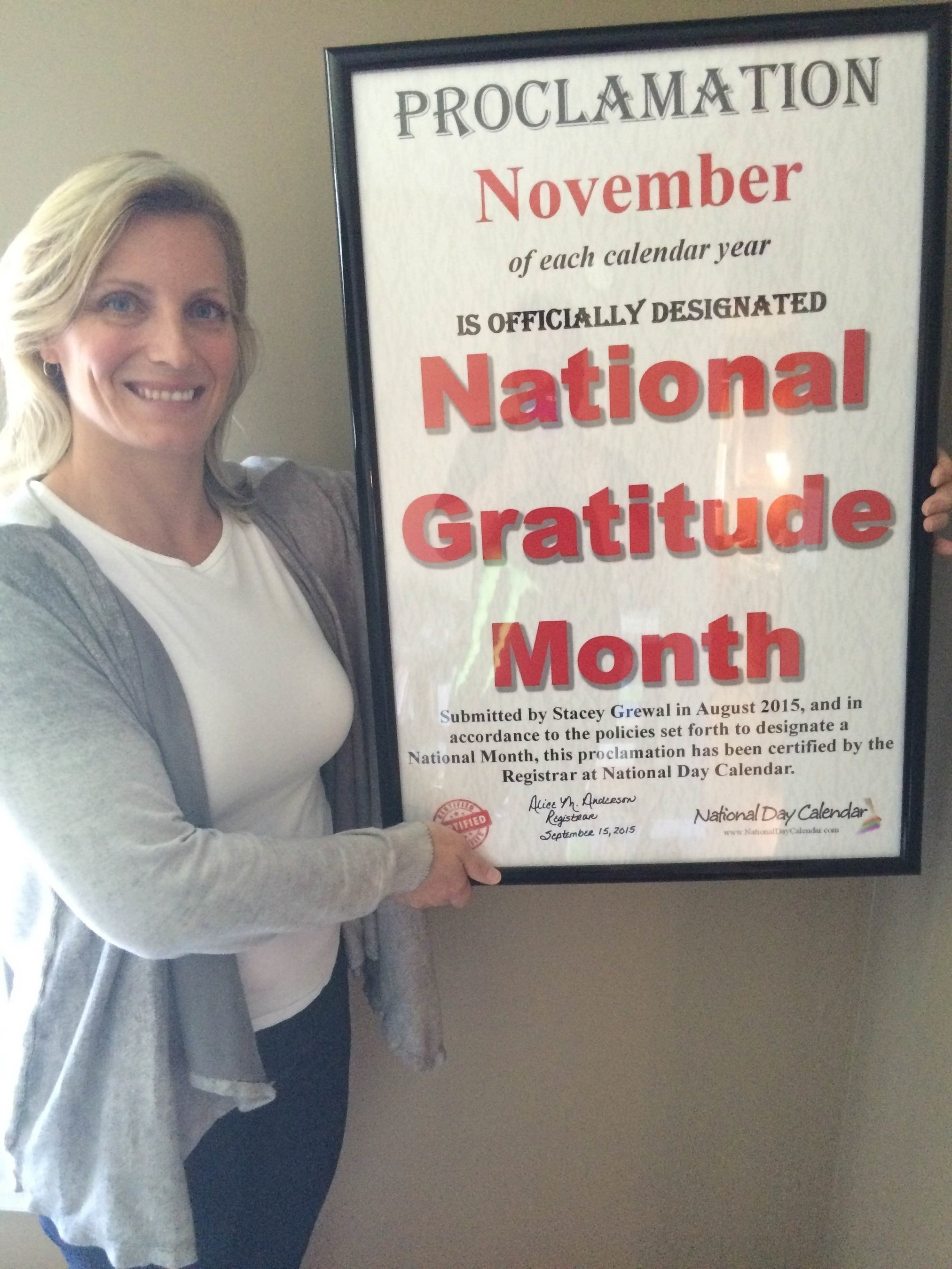 November Officially Declared 'National Gratitude Month' for USA and Canada
