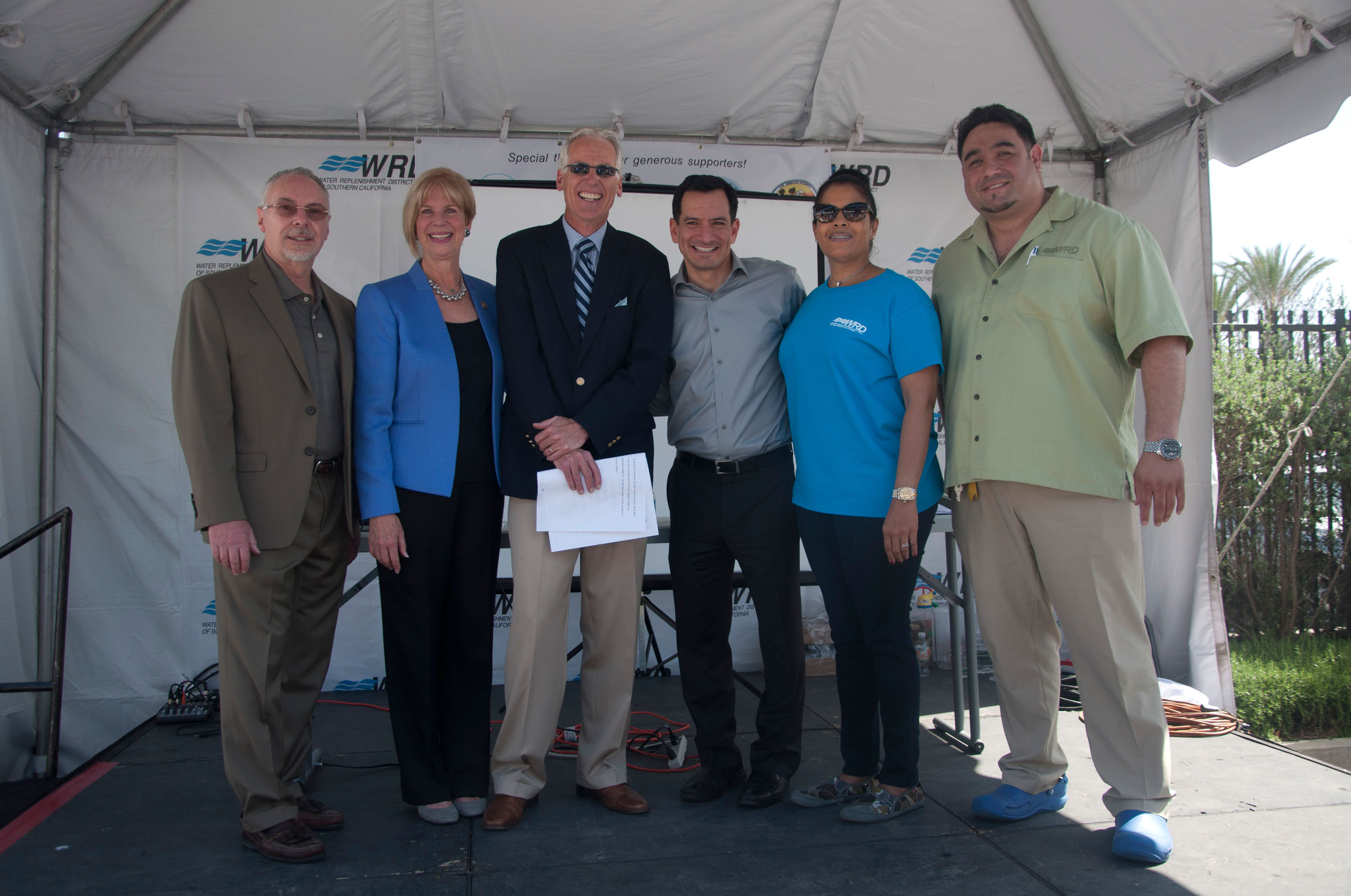 Groundwater Ambassadors: Congresswoman Janice Hahn and Assemblyman Anthony Rendon, along with President Rob Katherman, boardmembers Lynn Dymally, Sergio Calderon, and news anchor Patrick Healy. (PRNewsFoto/Water Replenishment District of Southern California) (PRNewsFoto/WATER REPLENISHMENT DISTRICT...)