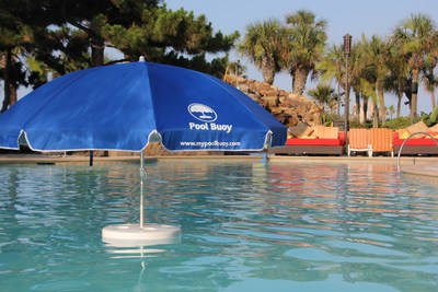 The Pool Buoy, the world's first and only floating umbrella, also uses UV-blocking technology for safer sun time.