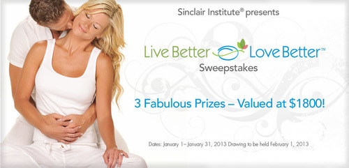 Sinclair Institute® announces the Live Better, Love Better Sweepstakes Give-Away
