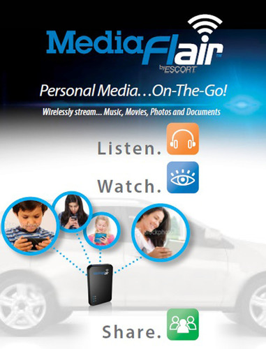 Mobile consumer electronics leader ESCORT Inc. (ESCORTinc.com) announced that it has further broadened its consumer products lineup with the release of the all-new MediaFlair(TM) personal Wi-Fi(R) streaming accessory.  Small and lightweight, the portable MediaFlair(TM) unit offers an exciting new way to listen, watch and share your media. (PRNewsFoto/ESCORT Inc.)
