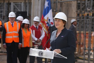 Chile President Michelle Bachelet at today's announcement by Total and SunPower to provide solar power for Metro de Santiago, the world's first metro to run on solar.