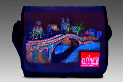Manhattan Portage commissioned Djembe (pronounced jem-bay) & Canvas to hand paint 30 of their renowned messenger bags with fluorescent 3D designs depicting famed New York City landmarks.  (PRNewsFoto/Manhattan Portage)