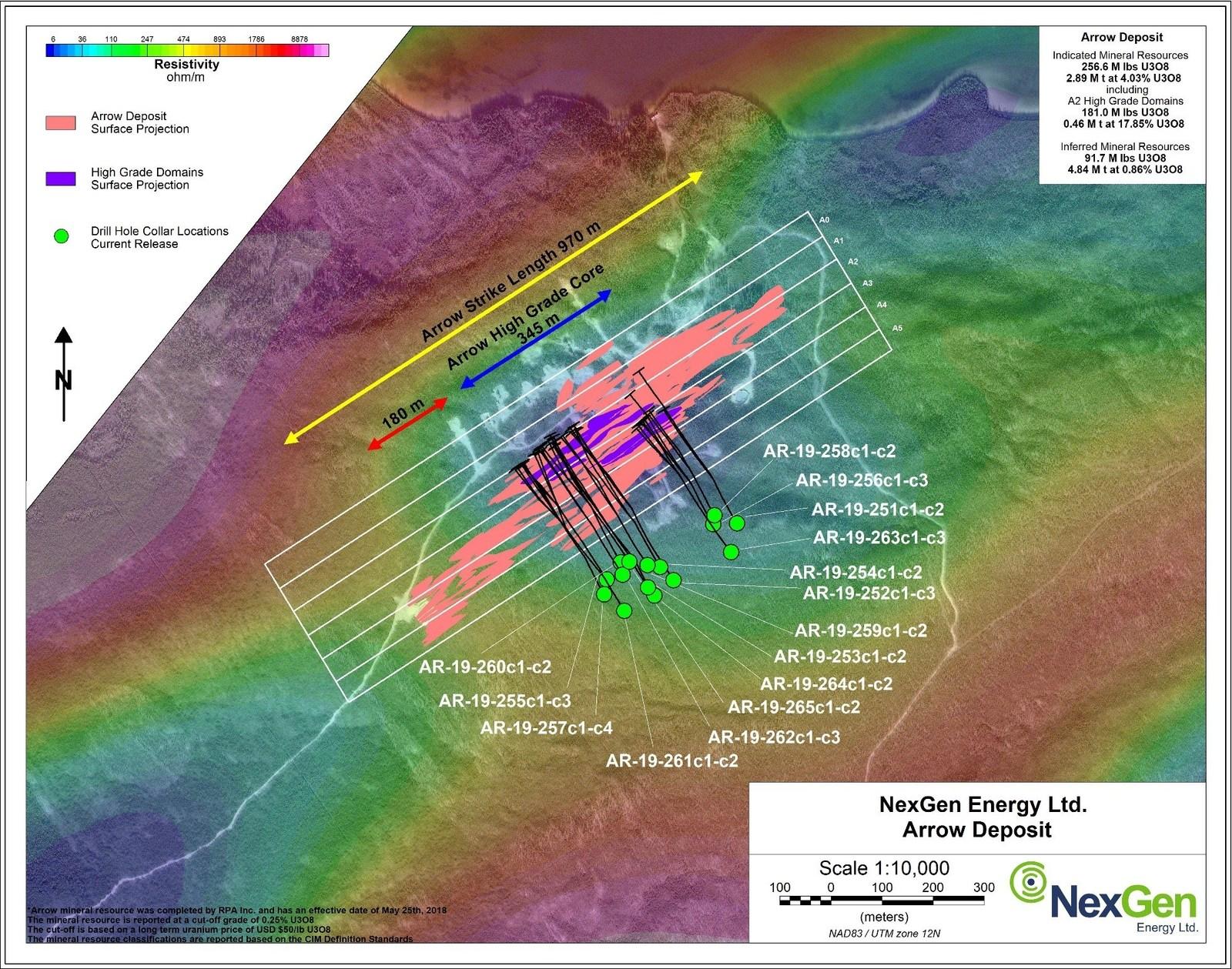 Figure 1: Arrow Deposit Drill Hole Locations