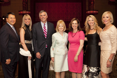 (L) Sal Maglietta, Executive Vice President, US Bank; Sandie O'Connor, Chief Regulatory Affairs Officer, J.P. Morgan Chase; Chris Blunt, President, Investments Group, New York Life Insurance Company; Consuelo Mack, Anchor & Executive Producer, Consuelo Mack WealthTrack on PBS; Sharon Greenberger, President & CEO, YMCA of Greater New York; 2015 Tony Award(R) winning actress, Kelli O'Hara; Janice Reals Ellig, Co-Chief Executive Officer, Chadick Ellig, Inc.