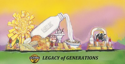 "Real California Milk ""Legacy of Generations"" float pays homage to the success that comes from the knowledge passed from generation to generation and the essential partnership between the farmers, the land, the animals and their communities."