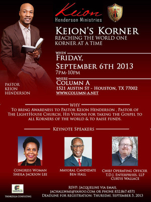 "Notable political and business leaders will come together to lend support for Pastor Keion Henderson's ""Keion's Korner"" PARTNERSHIP program.  (PRNewsFoto/The LightHouse Church)"