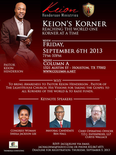 Notable political and business leaders will come together to lend support for Pastor Keion Henderson's ...