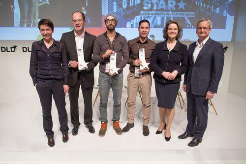 Awardees Dr. Stefan Sigg (SAP), Richard Kuenkele (YouPickIt) and Iljad Madisch (Researchgate) of the Focus Digital Stars with Claudia Nemat (Deutsche Telekom), Britta Weddeling and Jörg Quoos (both FOCUS Magazine) (PRNewsFoto/Hubert Burda Media)