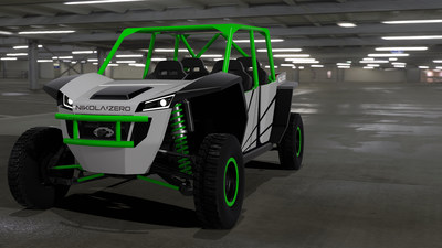 """Nikola Motor Company(NMC), has designed, engineered and is finalizing assembly of the most powerful production model UTV ever built. The UTV project, dubbed """"Nikola Zero,"""" is a 100% electric powered, zero emission, four-passenger, side-by-side that boasts over 520 hp, 480 ft. lbs. of torque, 20 inches of suspension travel on all four wheels and a 125-mile range."""