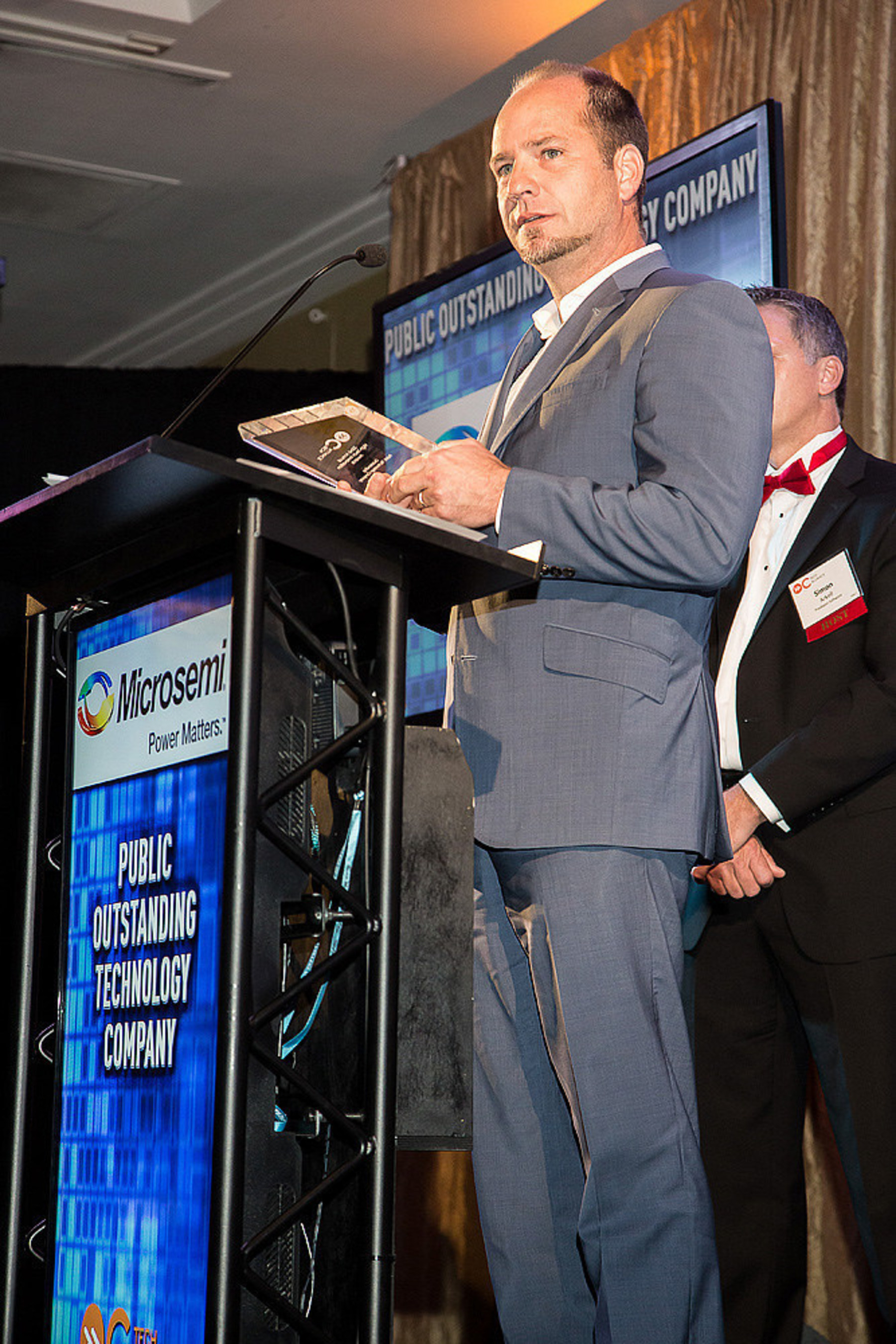 """Microsemi's President and COO Paul Pickle accepts the company's 2015 """"Outstanding Public Technology Company"""" award from the Orange County Tech Alliance. Microsemi was also the recipient of its """"Enterprise Hardware & Device"""" award. OC Tech Alliance's 22nd Annual High-Tech Innovation Awards celebrate excellence and achievement in the region's technology industry, honoring local companies, individuals and products that drive innovation in Orange County, California."""