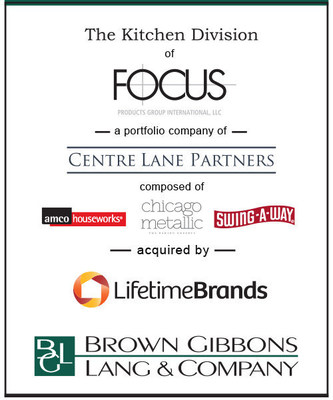(BGL) is pleased to announce the sale of the Kitchen Division of Focus Products Group International, LLC (FPG Kitchen), a portfolio company of Centre Lane Partners, to Lifetime Brands, Inc. BGL's Consumer Products & Retail team served as the exclusive financial advisor to Focus Products Group.  Terms of the transaction were not disclosed.  FPG Kitchen is an award-winning designer of innovative kitchen brand solutions including prep tools, utensils, baking accessories, and premium bakeware for the home.
