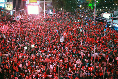 Crowds taking over the streets in Ankara, Turkey.