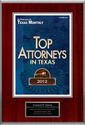 Attorney Leonard H. Simon Selected for List of Top Rated Lawyers in TX.  (PRNewsFoto/American Registry)