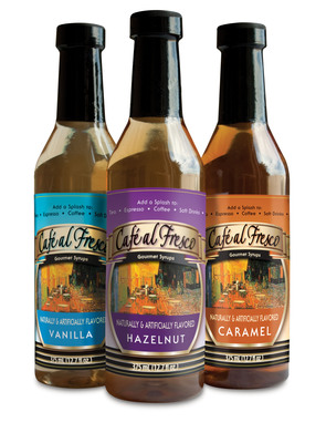 CAFE EL FRESCO IS A FLAVORING SYRUP THAT ENHANCES BEVERAGES AND FOODS; SUCH AS ESPRESSO-BASED BEVERAGES, ITALIAN SODAS, SMOOTHIES, TEAS, DESSERTS AND MUCH MORE. CURRENT FLAVORS INCLUDE VANILLA, CARAMEL AND HAZELNUT.  IN DEVELOPMENT FLAVORS ARE: AMARETTO, RASPBERRY AND IRISH CREAM.  (PRNewsFoto/Dominion Liquid Technologies LLC)