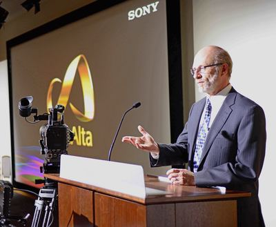 Sony Electronics and American University announced a new technology collaboration to outfit the universitys newly restored McKinley Building and School of Communication with a range of Sony production equipment. Shown here is Jeffrey Rutenbeck, Dean, American University School of Communication, at an event last night to unveil the new facility and highlight the Sony technology being used.
