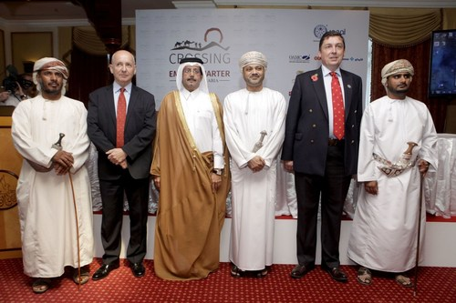 'Crossing the Empty Quarter expedition launched to the media at the Diplomatic Club, Muscat Oman From left ...