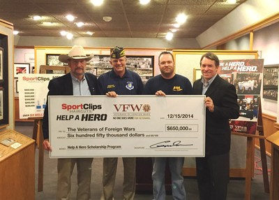 Sport Clips Haircuts Founder and CEO Gordon Logan, (left), presents a check to John Stroud (second from left,) VFW's commander-in-chief for $650,000 to help service members further their education. Micah Gaches, (second from right,) a member of the Air Force Reserves and a Help A Hero scholarship recipient, was on hand for the presentation, along with Sport Clips Haircuts President Mark Kartarik (right.)