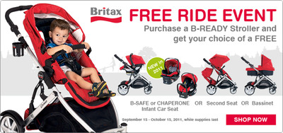 Purchase a B-READY stroller and get your choice of a FREE B-SAFE or CHAPERONE Infant Car Seat, Bassinet or Second Seat: September 15-October 15.  (PRNewsFoto/BRITAX)