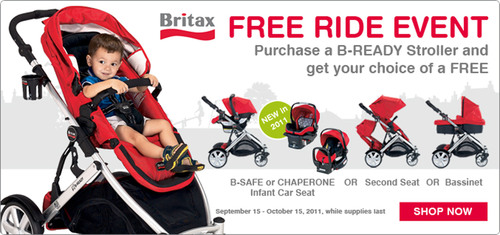 Purchase a B-READY stroller and get your choice of a FREE B-SAFE or CHAPERONE Infant Car Seat, Bassinet or ...