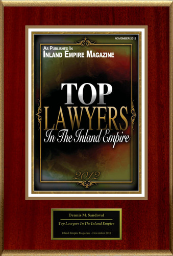"""Dennis M. Sandoval Selected For """"Top Lawyers In The Inland Empire"""".  (PRNewsFoto/American Registry)"""