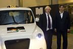Frazer-Nash Chairman Kamal Siddiqi presents the zero-emissions-capable next generation Metrocab World Taxi to London Mayor Boris Johnson