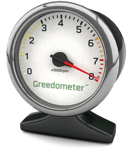 Greedometer Gauge at 7900rpm.  (PRNewsFoto/Triangle Wealth Management)