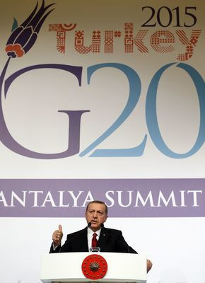 """We cannot talk about a strong global economy unless we ensure global peace and stability. G20 cannot have the luxury to ignore the issues directly affecting global stability. Therefore, we addressed, apart from financial issues, terrorism and refugee crisis... We consider linking terrorist acts with refugees as an effort to evade humanitarian responsibilities. We should carry out both the fight against terrorism and the efforts to find a way out for the refugee crisis hand in hand... I believe that G20 should serve as a model to the world in this regard"" President Erdogan speaking at the Press Conference following the G20 Summit (PRNewsFoto/G20 Turkish Presidency) (PRNewsFoto/G20 Turkish Presidency)"