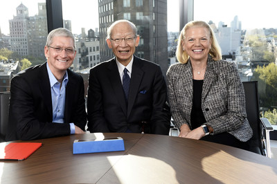 Apple CEO Tim Cook, left, CEO of Japan Post Holdings Mr. Taizo Nishimuro and IBM CEO Ginni Rometty announce a first-of-its-kind initiative to address the economic and societal issues of the aging population in Japan in New York City on Thurs., April 30, 2015. Building on the landmark Apple-IBM partnership, the companies plan to bring the power of iPad together with IBM-developed apps and the accessibility technologies of IBM and Apple to connect millions of seniors in Japan with services, communities and their families.