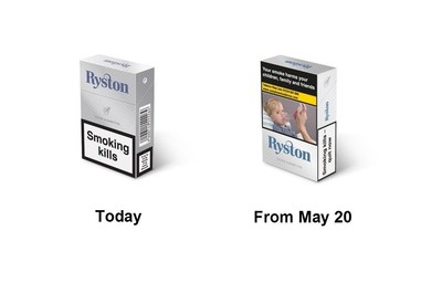 Packs Before and After TPD2 (PRNewsFoto/Japan Tobacco International)