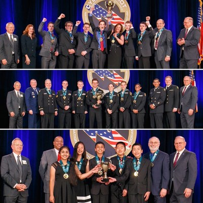 National Champions from each of the three divisions are presented the championship trophy and medals at the CyberPatriot VIII National Cyber Defense Competition National Finals. Top: Summit Technology Academy, National Champions, Open Division. Middle: Centurion Battalion, National Champions, All Service Division. Bottom: Oak Valley Middle School, National Champions, Middle School Division