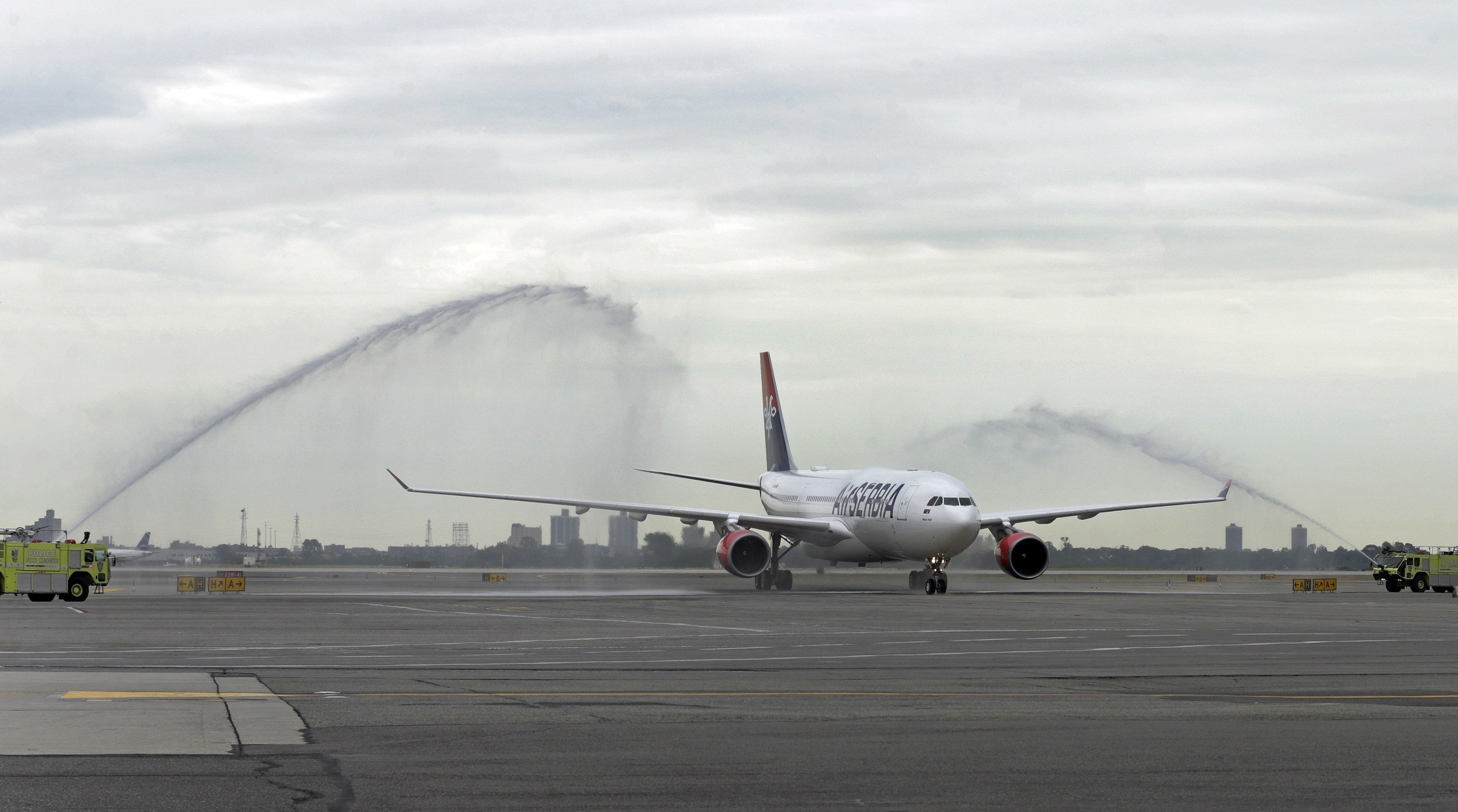 Air Serbia's inaugural service from Belgrade to New York, flight JU 500, is welcomed to JFK International Airport with a water-cannon salute.